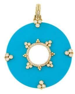 Judith Ripka 18K Diamond & Turquoise Pendant