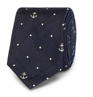 Thom Browne 5cm Silk-Jacquard Tie - Men - Navy