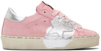 Golden Goose Pink Silver Leaf Hi Star Sneakers