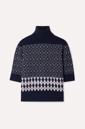 Chloé Intarsia Merino Wool-blend Turtleneck Sweater - Navy