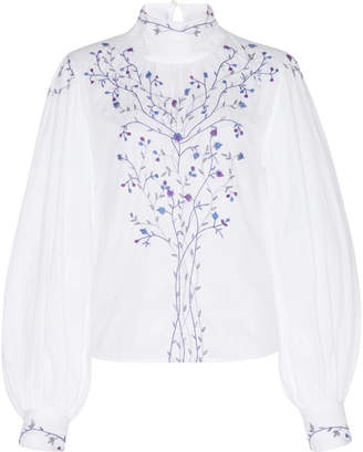 Thierry Colson Teresa Embroidered Cotton Long Sleeve Blouse