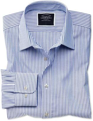 Charles Tyrwhitt Slim Fit Non-Iron Royal Blue Bengal Stripe Oxford Cotton Casual Shirt Single Cuff Size XS
