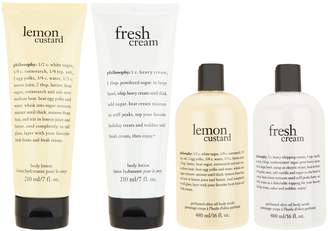 philosophy fresh & creamy body lotion & scrub 4-piece set