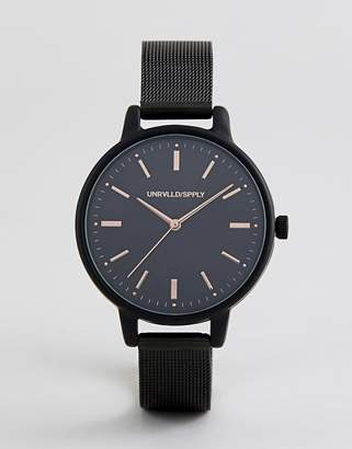 Asos Design Skinny Mesh Watch In Black With Rose Gold Highlights