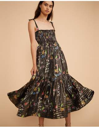 Cynthia Rowley Parker Metallic Floral Shoulder Tie Dress