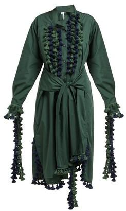 Loewe Pompom Trimmed Poplin Shirtdress - Womens - Green