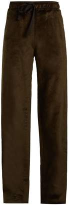 Palmer Harding PALMER/HARDING Tie-waist straight-leg velvet trousers