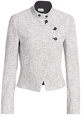 Akris Punto Women's Asymmetric Button Zip Houndstooth Jacket