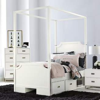 Harriet Bee Jereme Canopy Panel Bed with Two Storage Drawer Units, Soft White
