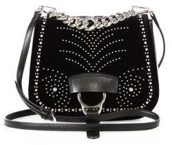 Miu MiuMiu Miu Dahlia Embellished Velvet Saddle Bag
