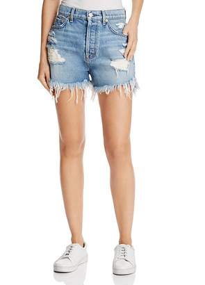 7 For All Mankind High-Rise Destroyed Denim Cutoffs in Vintage Wythe