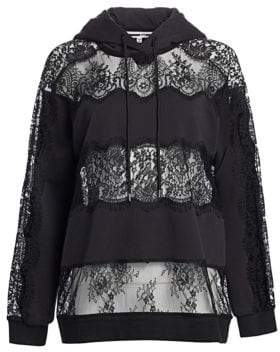 McQ Women's Lace Inset Mixed Media Hoodie - Black - Size XS