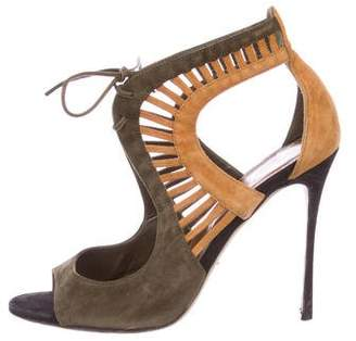 Sergio Rossi Suede Lace-Up Sandals