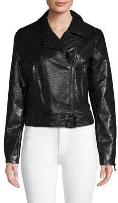 T Tahari Belted Faux Leather Moto Jacket