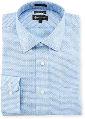 Neiman Marcus Classic-Fit Regular-Finish Micro Dobby Dress Shirt, Blue