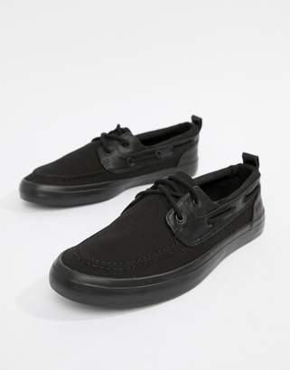 Asos Design DESIGN boat shoes in black