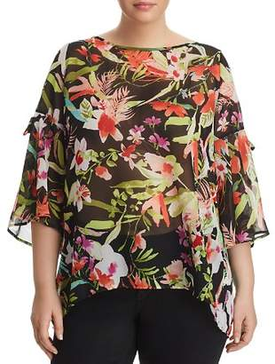 Status by Chenault Plus Tropical-Print Tie-Sleeve Top