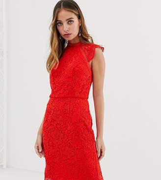 Chi Chi London Petite scallop lace pencil dress in red
