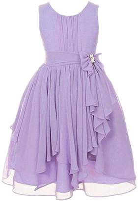 TOPJIN Girls Pleated Chiffon Bowknot Casual Wedding Birthday Graduation Party Dress