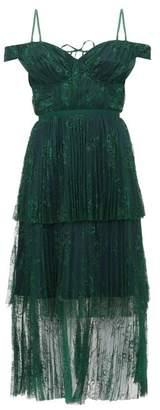 Self-Portrait Self Portrait Off The Shoulder Floral Lace Midi Dress - Womens - Dark Green