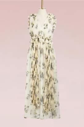 MSGM Georgette Floral Print Long Dress