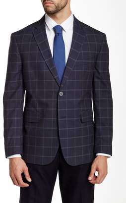 Louis Raphael Windowpane Check Two Button Notch Lapel Blazer