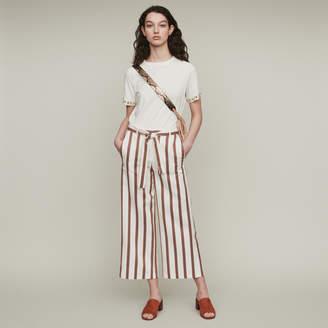 Maje Wide striped pants with belt