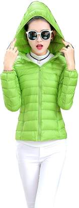 Prettybuy Women's Hooded Packable Down Jacket Ultra Light Weight with Storage Bag (M,BLK)