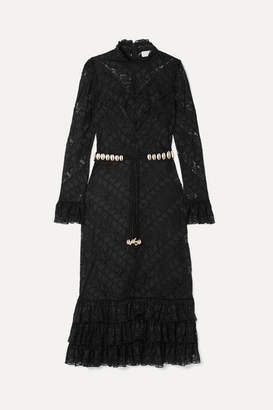 Zimmermann Veneto Perennial Ruffled Broderie Anglaise Gauze And Lace Dress - Black