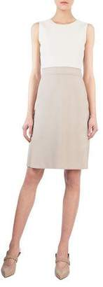 Akris Round-Neck Sleeveless Wool-Silk A-Line Dress