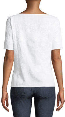 Neiman Marcus Short-Sleeve Embroidered Gauze Blouse