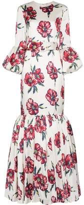 Rebecca De Ravenel floral bell sleeved floor length patio dress