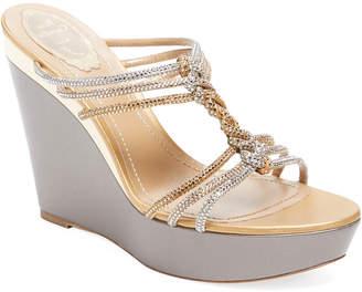 Rene Caovilla Embellished T-Strap Wedge Sandal