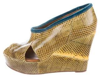 Rochas Snakeskin Wedge Peep-Toe Pumps Yellow Snakeskin Wedge Peep-Toe Pumps