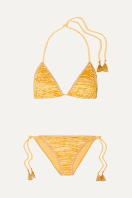 Missoni Mare Tasseled Crochet-knit Triangle Bikini - Yellow