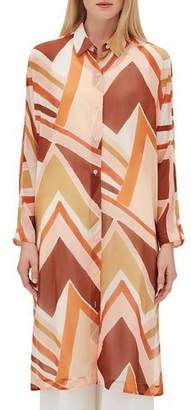 Lafayette 148 New York Kyrie Long-Sleeve Button-Front Modernist Chevron Georgette Duster Blouse