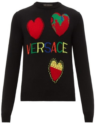 Versace Intarsia Heart Motifs Wool Sweater - Mens - Multi