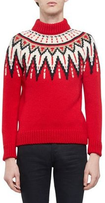Saint Laurent Fair Isle Mock-Neck Sweater, Red Multi $1,850 thestylecure.com