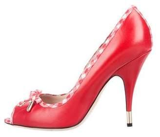 Dolce & Gabbana Leather Peep-Toe Pumps