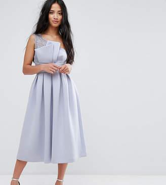 Asos PREMIUM One Shoulder Lace Scuba Midi Prom Dress