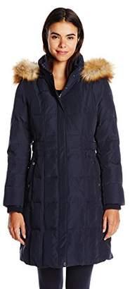 Jones New York Women's Down Coat With Faux Fur Hood