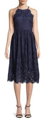 Eliza J Lace Halter Fit-and-Flare Dress