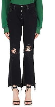 Amiri Women's Distressed Denim & Leather Crop Jeans