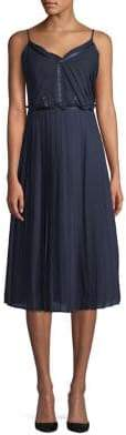 ABS by Allen Schwartz Collection Pleated Chiffon Midi Dress