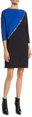 Marc Jacobs High-Neck 3/4-Sleeve Colorblock Cotton Dress w/ Beading
