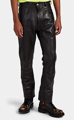 Vetements Men's Dominium Leather Slim-Straight Jeans - Black