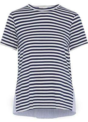 Clu Paneled Striped Seersucker And Stretch-Jersey Top