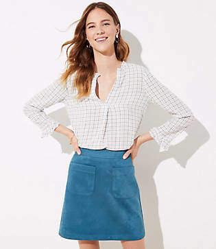 LOFT Petite Faux Suede Pocket Shift Skirt