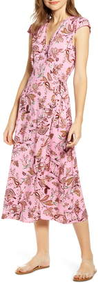 Love, Fire Floral Paisley Midi Wrap Dress