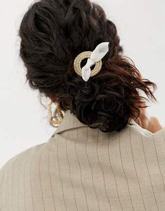Asos Design DESIGN hairband with woven open circle detail and bow in cream